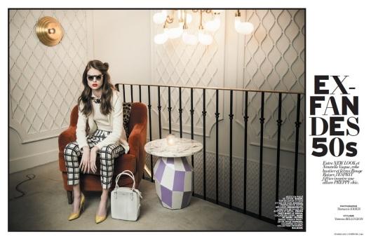 """""""Ex-Fan Des 50s """" : Estelle Yves (Viva London) by Thanassis-Krikis for L'Officiel Paris February 2013"""